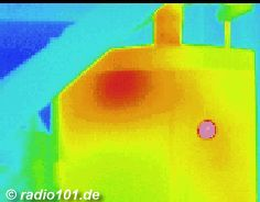 Thermographic picture - infrared photograph: 1000-Litres - electric boiler with thermal leakage by poor insulation