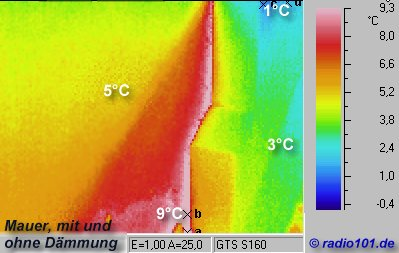 infrared image: wall with and without heat insulation - Thermographic picture - infrared photograph