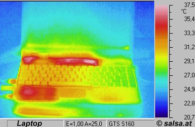 heat radiation of a notebook (thermographic foto / thermal picture)