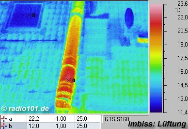 picture: pipe on a roof (thermographic image)